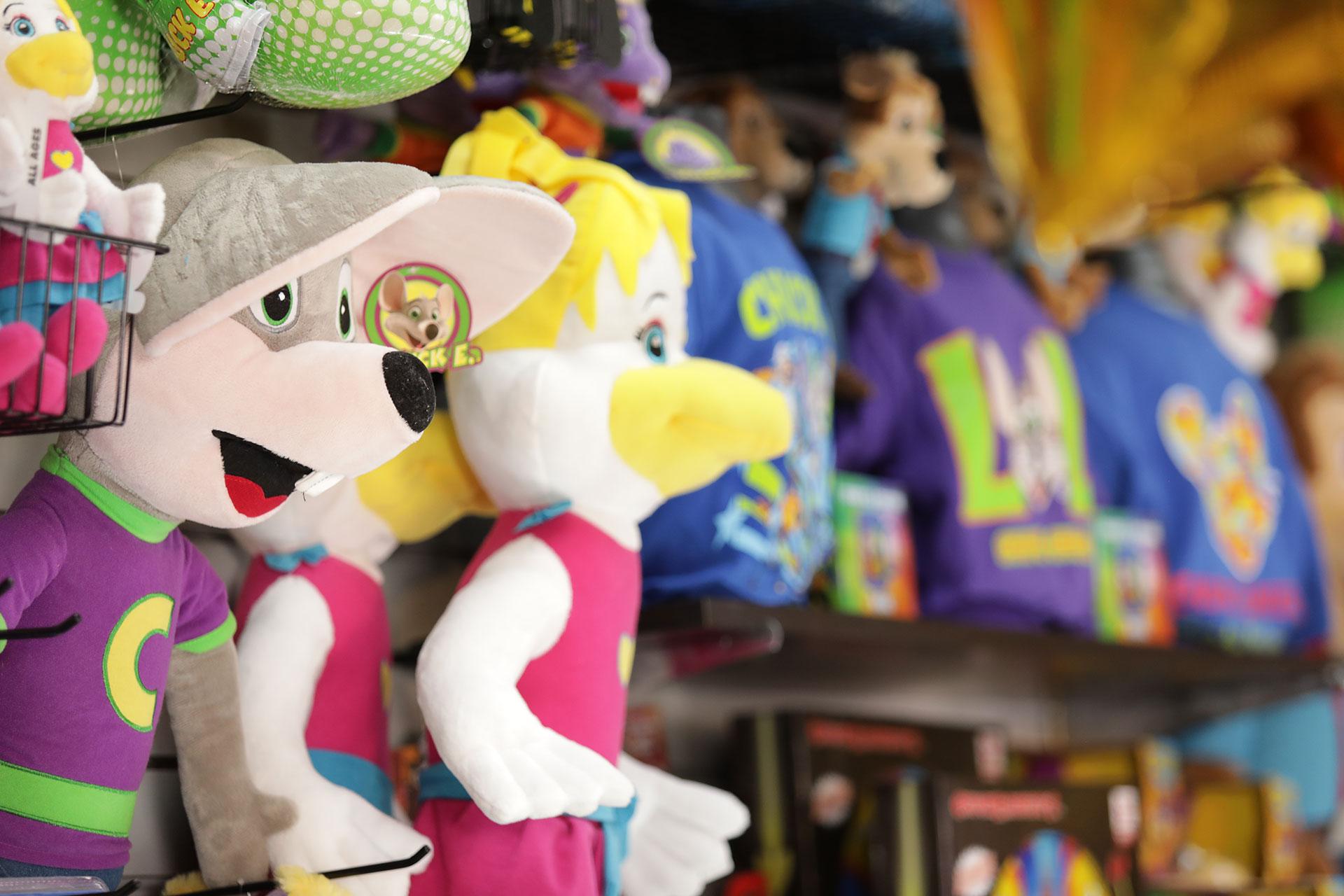 Stuffed toys on wall