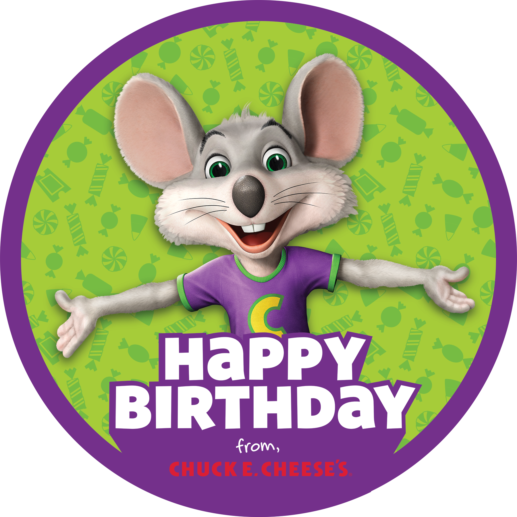 Chuck E. happy birthday pin