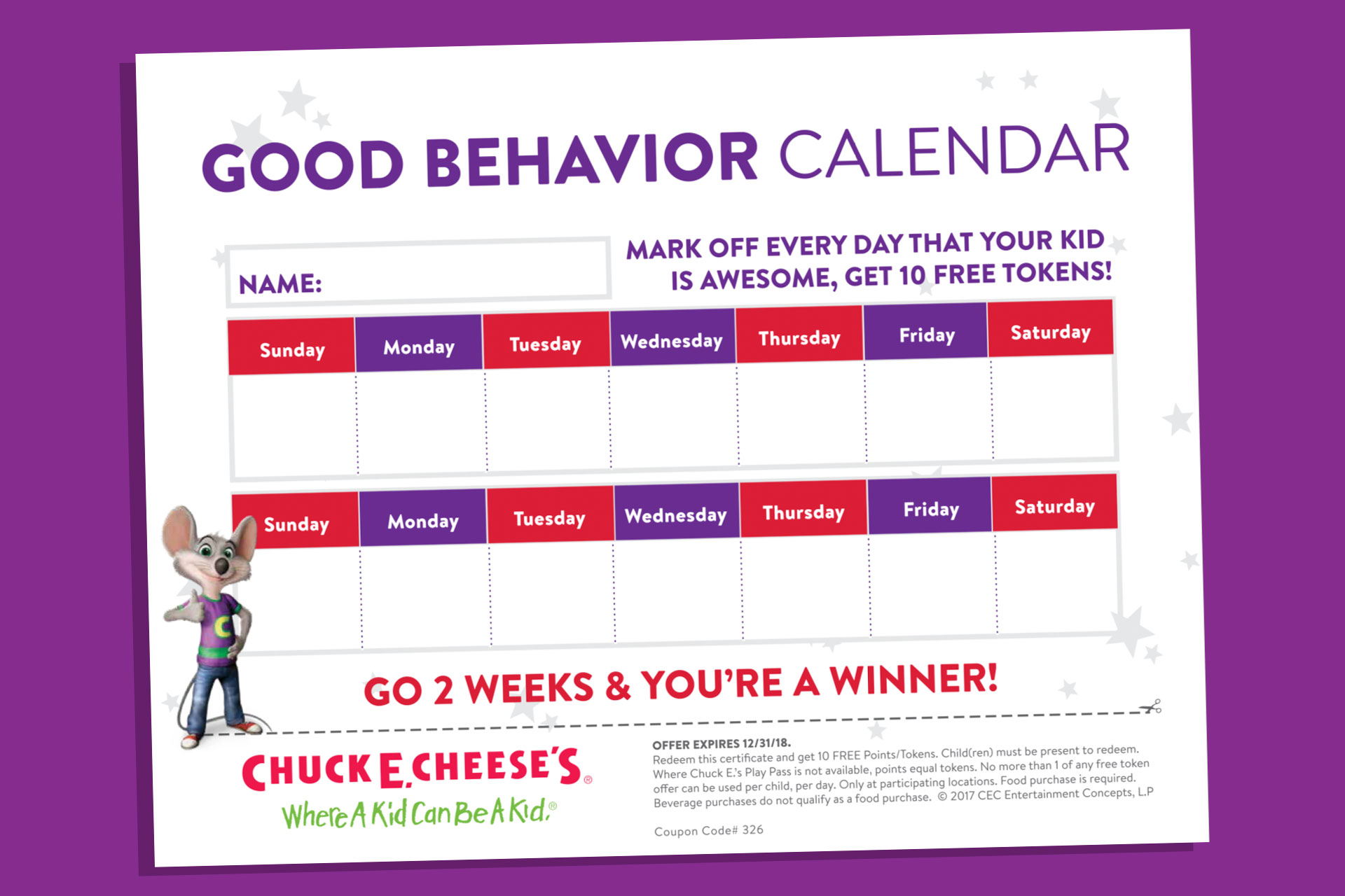 Good behavior calendar