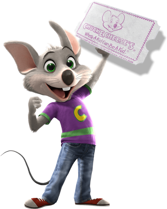 Chuck E. holding ticket